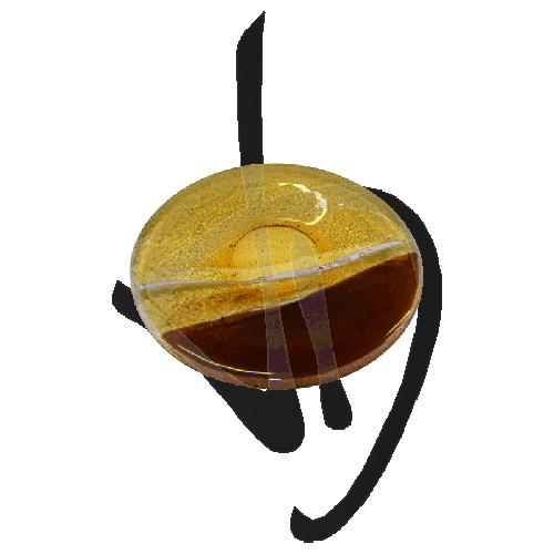 runder-teller-aus-muranoglas-gebraeunter-schirm-handgefertigt