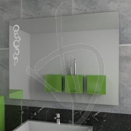 Specchio su misura, da appendere, con decoro A025