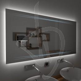 Specchio su misura, con decoro A024 inciso, colorato e illuminato e retroilluminazione a led