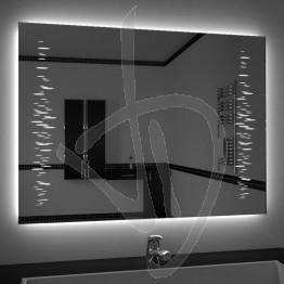 Specchio su misura, con decoro A032 inciso e illuminato e retroilluminazione a led