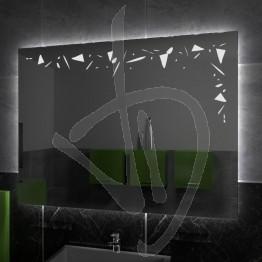 Specchio su misura, con decoro A027 inciso e illuminato e retroilluminazione a led