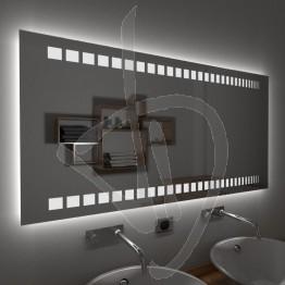 Specchio su misura, con decoro B017 inciso e illuminato e retroilluminazione a led