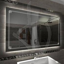 Specchio su misura, con decoro B008 inciso e illuminato e retroilluminazione a led