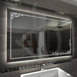 Specchio su misura, con decoro C020 inciso e illuminato e retroilluminazione a led