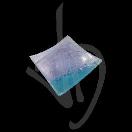 Centrotavola in vetro di Murano, tonalità viola e azzurra, realizzato a mano