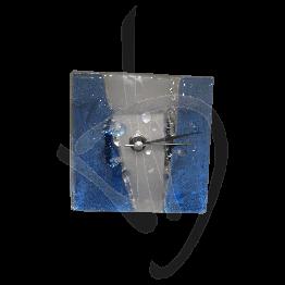 Orologio da tavolo in vetro di Murano, tonalità azzurra, realizzato a mano