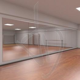 Parete a specchio, modulare con kit profili per fissaggio a parete