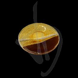 Piatto tondo in vetro di Murano, tonalità bronzata, realizzato a mano