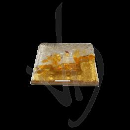 Portacandela in vetro di Murano, toanalità ambra, realizzato a mano