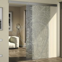 Porta scorrevole moderna con vetro decorato, su misura (decoro opzionale)