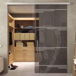 Porta in vetro decorato scorrevole esterno muro, su misura (decoro opzionale)