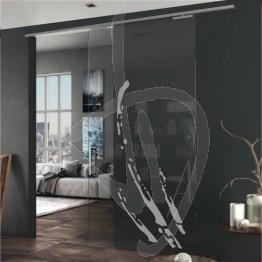 Porta scorrevole esterno muro e vetro decorato, su misura (decoro opzionale)