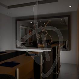 Specchio di design, con logo illuminato e con cornice rivestita in legno, varie finiture