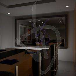 Specchio con logo illuminato e con cornice rivestita in legno, varie finiture