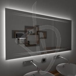 Specchio su misura, con decoro A024 inciso e illuminato e retroilluminazione a led