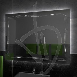 Specchio su misura, con decoro A034 inciso e illuminato e retroilluminazione a led