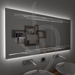 Specchio su misura, con decoro A033 inciso e illuminato e retroilluminazione a led