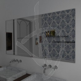 Specchio per bagno, con decoro B022