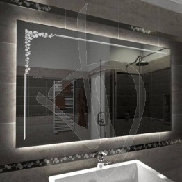 Specchio su misura, con decoro B007 inciso e illuminato e retroilluminazione a led