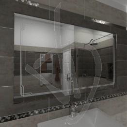 Specchio per bagno, con decoro B004