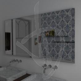 Specchio per bagno, con decoro B025