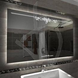 Specchio su misura, con decoro C013 inciso e illuminato e retroilluminazione a led