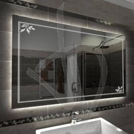 Specchio su misura, con decoro C014 inciso e illuminato e retroilluminazione a led