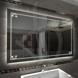 Specchio su misura, con decoro C018 inciso e illuminato e retroilluminazione a led