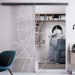 Porta in vetro decorato, su misura (decoro opzionale)