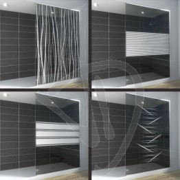 Vetro doccia nicchia, su misura, in vetro grigio Europa decorato