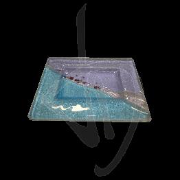 Portasapone in vetro di Murano, tonalità viola e azzurra, realizzato a mano