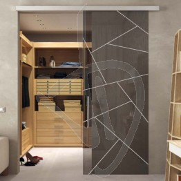 Porta in vetro moderna e con vetro decorato, su misura (decoro opzionale)