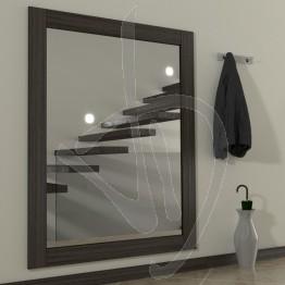 Specchio su misura, con cornice in legno massello in rovere naturale, tinta wengè