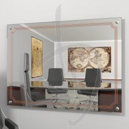 Specchio design, con distanziali e decoro B020