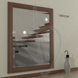 Specchio ingresso, con cornice in legno massello in rovere, tinta rovere scuro