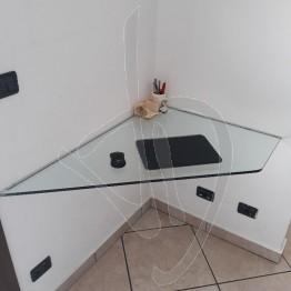 Scrivania angolare sospesa in vetro trasparente, su misura