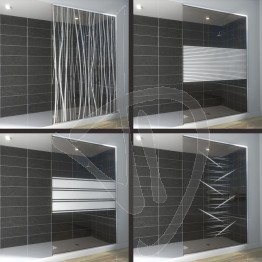 Vetro doccia nicchia, su misura, in vetro bronzato decorato