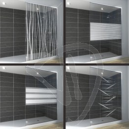 Vetro doccia nicchia, su misura, in vetro extrachiaro decorato
