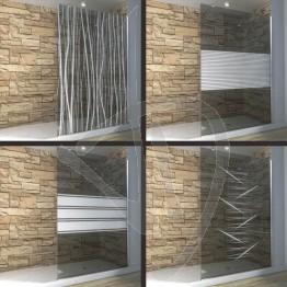Vetro doccia fisso, su misura, in vetro grigio Europa decorato