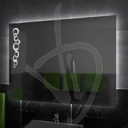 Specchio su misura, con decoro A025 inciso e illuminato e retroilluminazione a led