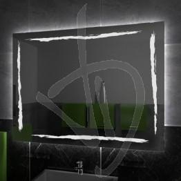 Specchio su misura, con decoro A036 inciso e illuminato e retroilluminazione a led