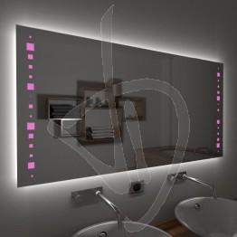 Specchio su misura, con decoro A035, inciso, colorato e illuminato e retroilluminazione a led