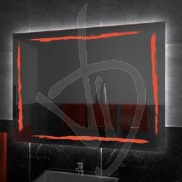 Specchio su misura, con decoro A036, inciso, colorato e illuminato e retroilluminazione a led