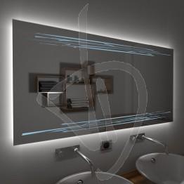 Specchio su misura, con decoro A033, inciso, colorato e illuminato e retroilluminazione a led