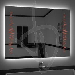 Specchio su misura, con decoro A032, inciso, colorato e illuminato e retroilluminazione a led