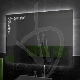 Specchio su misura, con decoro A029 inciso e illuminato e retroilluminazione a led