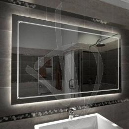 Specchio su misura, con decoro B010 inciso e illuminato e retroilluminazione a led