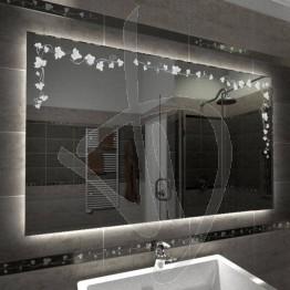 Specchio su misura, con decoro C021 inciso e illuminato e retroilluminazione a led