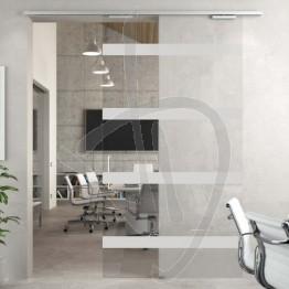 Porta scorrevole in vetro decorato, su misura (decoro opzionale)