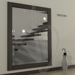 Specchio da ingresso, con cornice in legno massello in rovere, tinta wengè